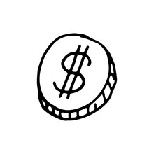 Handdrawn Coin Doodle Icon. Ha...