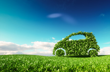 Panel Szklany Eko Eco friendly car development, clear ecology driving, no pollution and emmission transportation concept. 3d rendering of green car icon on fresh spring meadow with blue sky in background.