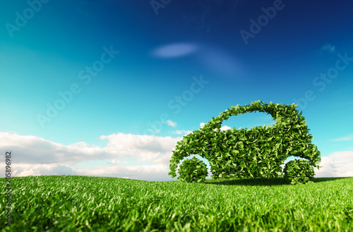 Cuadros en Lienzo Eco friendly car development, clear ecology driving, no pollution and emmission transportation concept