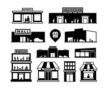 Shopping Mall Buildings Icons....