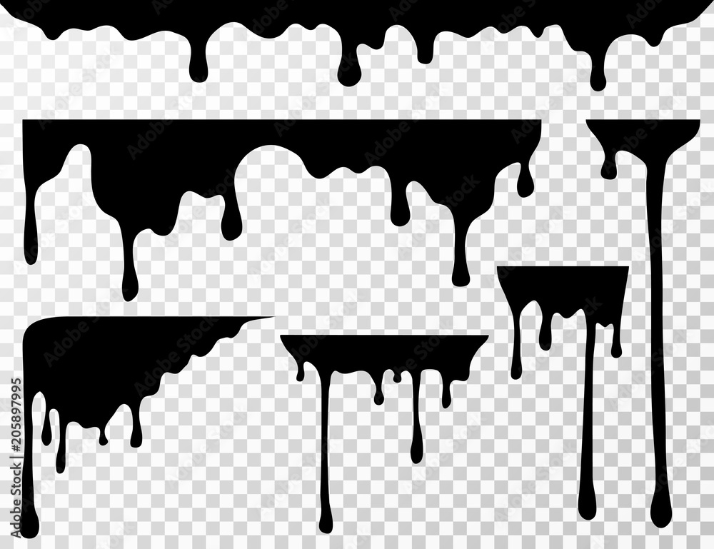 Fototapeta Black dripping oil stain, liquid drips or paint current vector ink silhouettes isolated