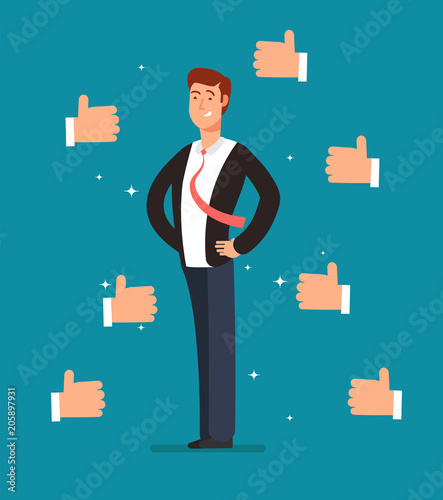 Cuadros en Lienzo  Cartoon proud employee with many thumbs up hands of businessmen