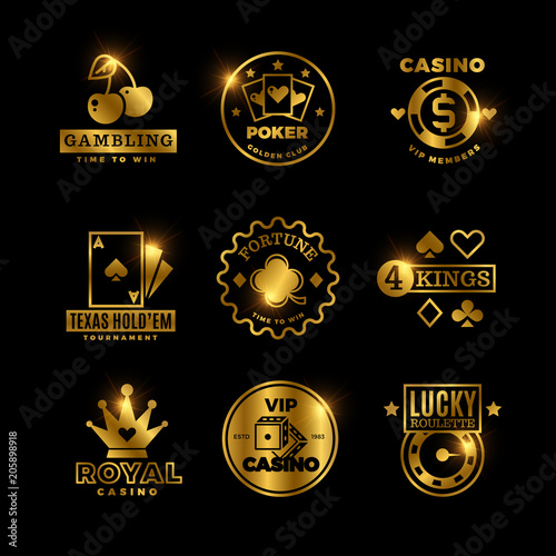Fotografiet  Golden gambling, casino, poker royal tournament, roulette vector labels, emblems