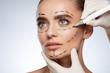 Leinwandbild Motiv Beautiful girl with puncture lines on face