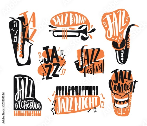 Photo Collection of jazz music lettering written with creative font and decorated with various musical instruments isolated on white background - piano, drums, saxophone, trumpet
