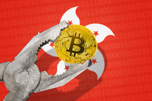 BITCOIN (BTC) Coin In A Vice Under Pressure On Hong Kong Flag Background. Prohibition Of Bitcoin Cryptocurrency; Regulations; Restrictions Or Security