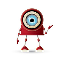 Vector Funny Cartoon Red Friendly Robot Character Isolated On White Background. Kids 3d Robot Toy. Chat Bot Icon