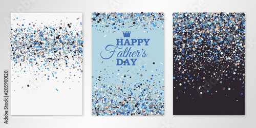 Fototapeta Banners set with scatter confetti on white, blue and brown background. Vector flyer design templates for Fathers Day invitation cards, brochure design, certificates. All layered and isolated obraz na płótnie