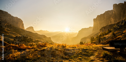 Canvas Prints Honey Dolomites, Italy Landscape at Passo Gardena.