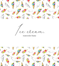 Сard For An Inscription With Two Types Of Ice Cream And Their Black Silhouettes On White Background. Watercolor Hand Drawn Illustration