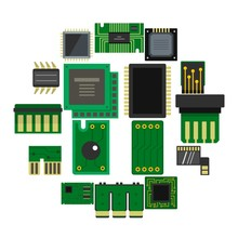 Computer Chips Icons Set In Flat Style Isolated Vector Illustration