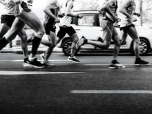 Group Men Runners Running Stre...