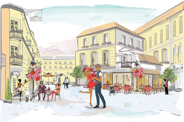 Fototapeta Series of the street cafes with people, men and women, in the old city, vector illustration. Romantic couple.