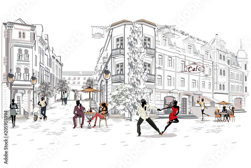 Series of the street cafes with people, men and women, in the old city, vector illustration. Salsa dancers.
