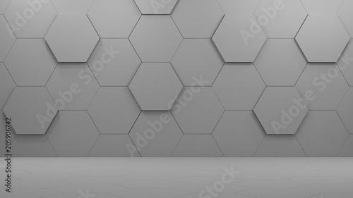 empty room with hexagons 3d rendering