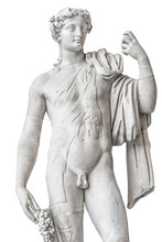Statue Of Naked Beautiful Apollo Isolated At White Background