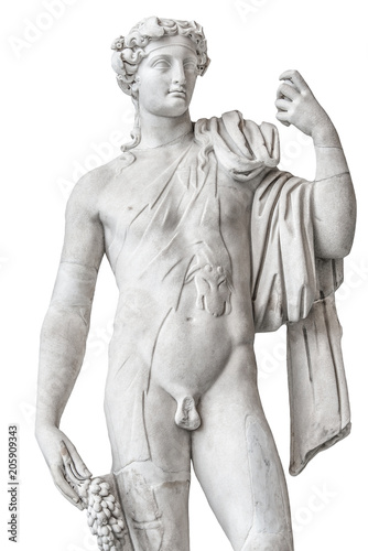 Foto auf Gartenposter Historische denkmal Statue of naked beautiful Apollo isolated at white background