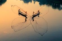 Vietnamese Fishermen In Famous Perfume River In Hue City, Vietnam