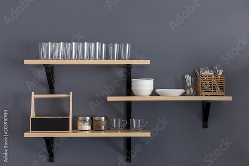 Shelf with clean dishware