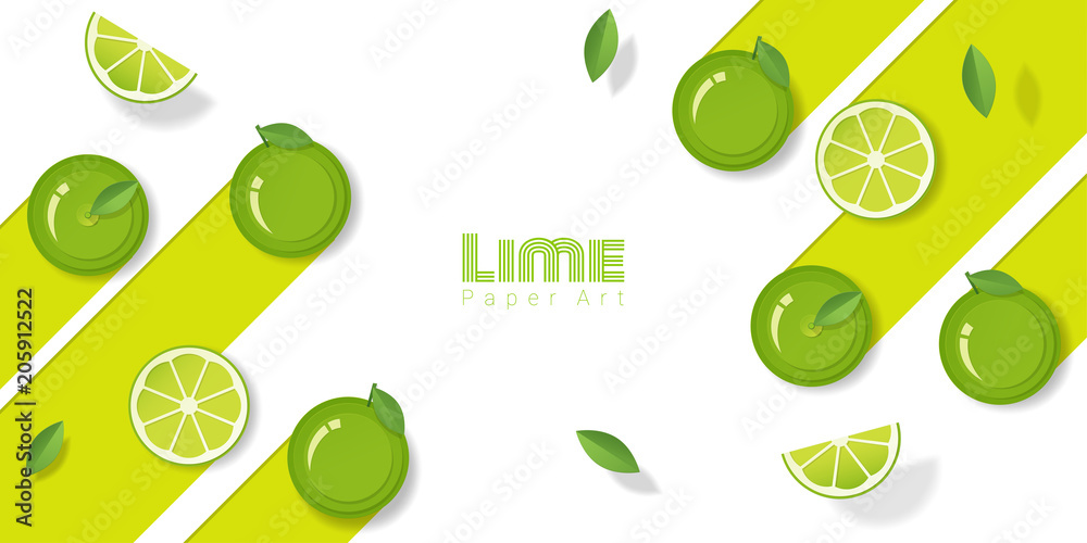 Fresh lime fruit background in paper art style , vector , illustration