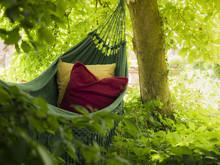 Hammock With Two Colourful Cushions,  Suburbian Garden Scene