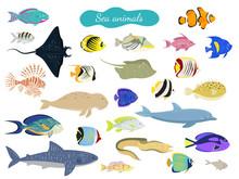 Set Of Cartoon Sea Animals On ...
