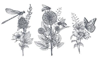 Zestaw trzech wektor kwiatów bukiety z czarno-białych ręcznie rysowane ziół, kwiatów i owadów