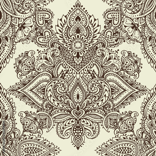 Cotton fabric Vector seamless pattern with henna mehndi floral elements.