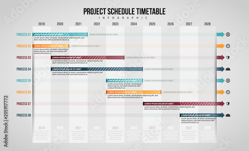 Fotografía  Project Schedule Timetable Infographic