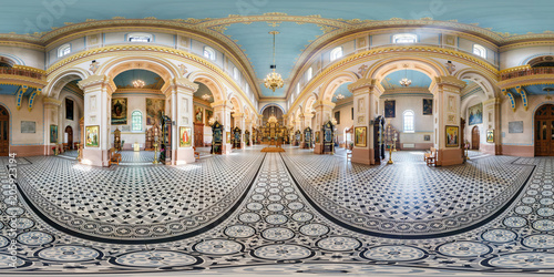 Printed kitchen splashbacks Historical buildings full seamless panorama 360 by 180 angle view in interior of luxury orthodox church in equirectangular projection, skybox VR content