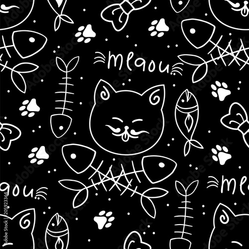 Cotton fabric Seamless vector pattern with cute cats