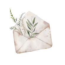 Watercolor Envelope And Greenery Illustration. Hand Drawn Rustic Artwork With Isolated Paper Envelope And Various Plants And Leaves Inside. Romantic Raster Art