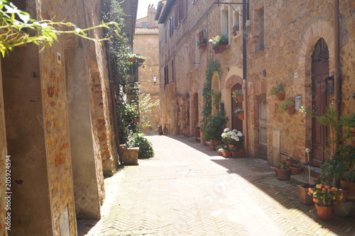 Canvas Prints Narrow alley The medieval town of Pienza, Italy