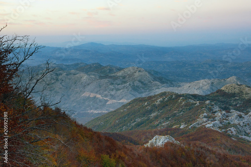 Spoed Foto op Canvas Chocoladebruin Beautiful evening mountain landscape. Montenegro, view of Lovcen National Park