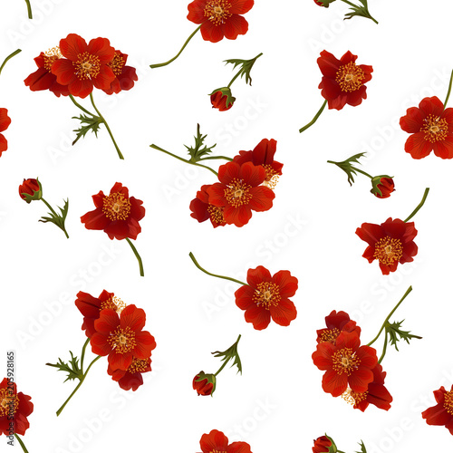 Vector seamless pattern with red flowers on white. Modern