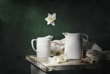 Still Life With Daffodils And Two White Jugs On A Green Background