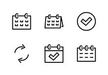 Set Calendar Line Icon Stock V...