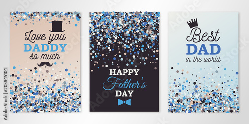 Fototapeta Fathers Day banners set with confetti and logo. Vector flyer design templates for invitation cards, brochure design, certificates. All layered and isolated obraz na płótnie