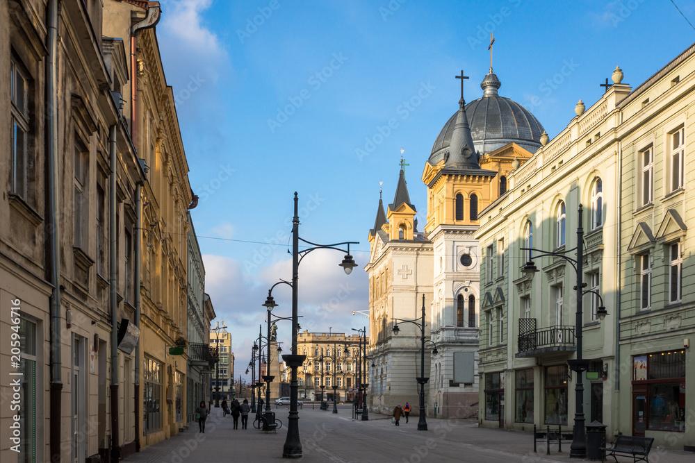 Fototapeta Church at Piotrkowska street in Lodz city, Lodzkie, Poland