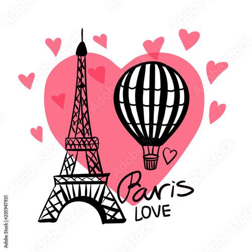 Wektor ręcznie narysować Balon i Paryż Wieża Eiffla na białym tle na różowe serce