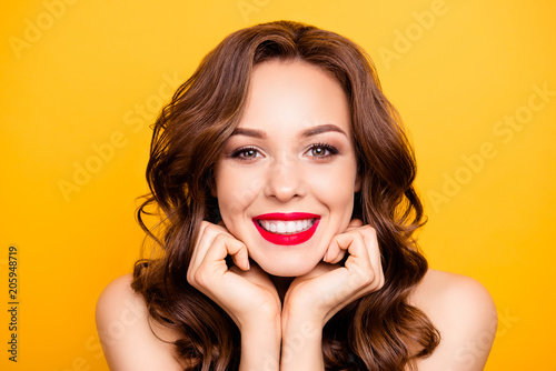 Valokuva  Closeup portrait of pretty elegant girl with straight white teeth modern hairsty