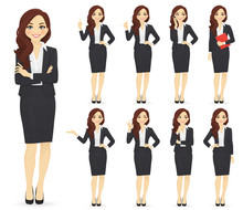 Businesswoman Character In Dif...
