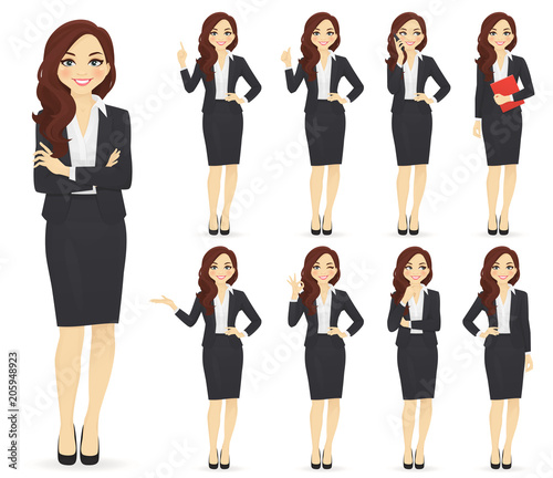 Businesswoman character in different poses set vector illustration