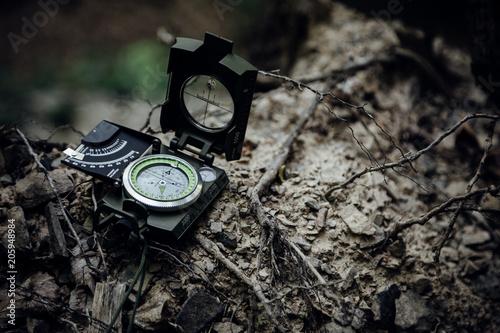 Kompass liegt auf einer Wurzel