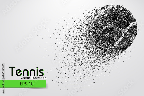 Fototapeta Silhouette of a tennis ball from particles.