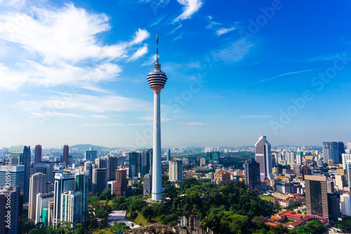 Photo Stands Kuala Lumpur Skyline of Kuala Lumpur downtown with skyscrapers and KL tower
