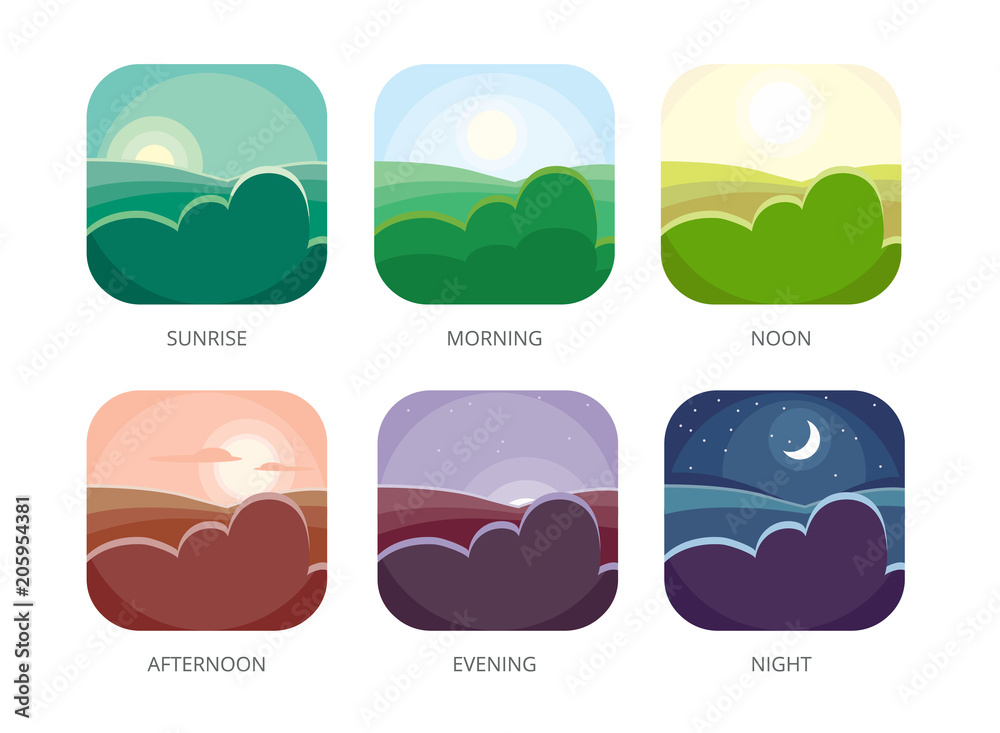 Fototapety, obrazy: Visualization of various times of day. Morning, noon and night. Flat style vector illustrations