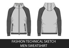 Technical Sketch Of Man Hooded...