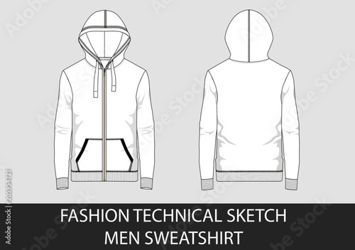 Technical sketch of man hooded sweatshirt in vector graphic Canvas Print