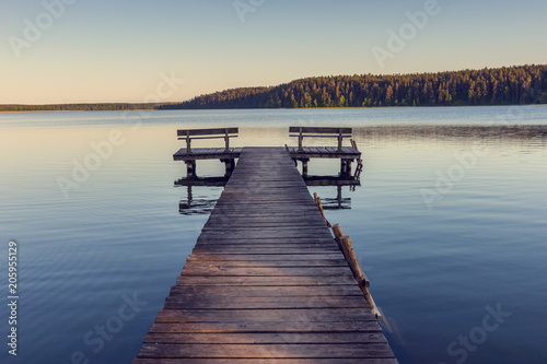 Fototapety, obrazy: Wooden footbridge on the lake